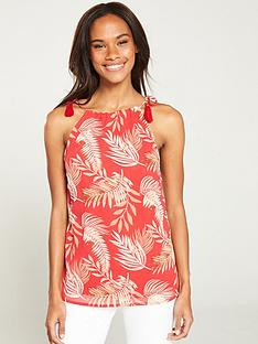 v-by-very-palm-print-halterneck-top-print