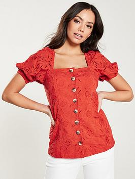 V by Very V By Very Square Neck Broderie Top - Orange Picture