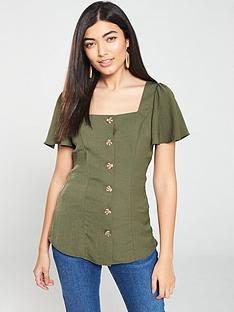 v-by-very-square-neck-button-through-top-khakinbsp
