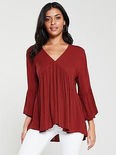 v-by-very-dip-back-cheesecloth-tunic-rust