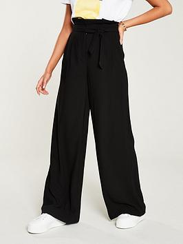 V by Very V By Very Belted Wide Leg Trousers - Black Picture