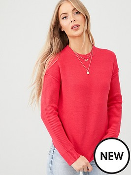 v-by-very-rib-sleeve-jumper-hot-pink