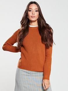 v-by-very-rib-sleeve-jumper-ginger