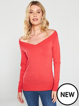 v-by-very-off-the-shoulder-jumper-coral-red