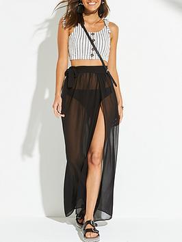 V by Very V By Very Chiffon Tie Side Maxi Beach Skirt - Black Picture