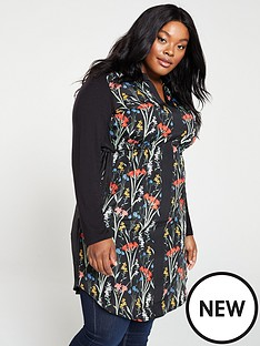 oasis-curve-flora-woven-front-jersey-shirt-dress-black