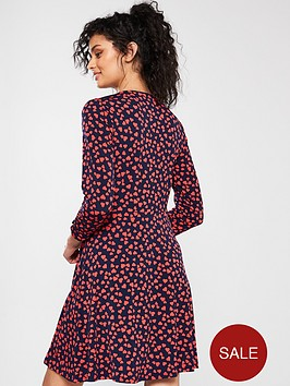 9c85606834fd Oasis Heart Twist Side Skater Dress - Blue   littlewoods.com