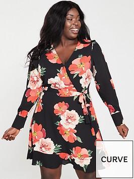 11b81285f4a4 Oasis Curve Bold Bloom V-neck Skater Dress - Multi Black ...