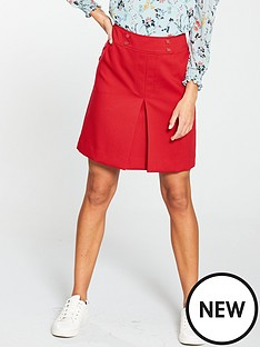 oasis-button-detail-skirt-red