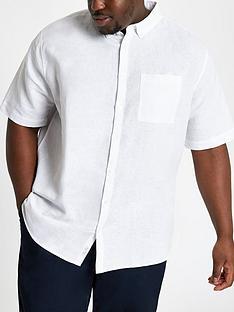 dd63eb86bcc River Island Short Sleeve Big   Tall Linen Shirt