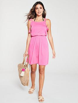 V by Very V By Very Shirred Waist Tie Shoulder Jersey Beach Dress - Pink Picture