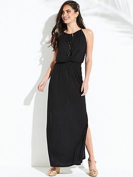 v-by-very-shirred-waist-maxi-beach-dress-black