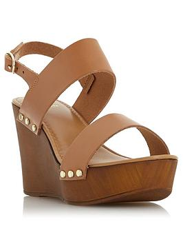 Dune London Dune London Kimmey Wooden Platform Wedge Sandals - Black Picture