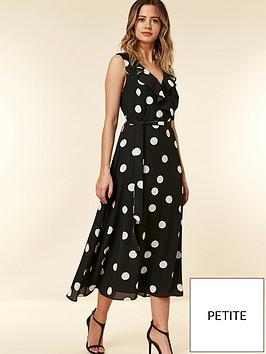 wallis-petite-black-spot-dress
