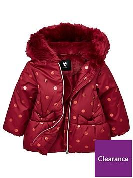 mini-v-by-very-girls-faux-fur-foil-spot-coat-raspberry