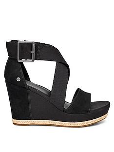 ugg-calla-wrapped-strap-buckle-sandal-wedge-shoes-black