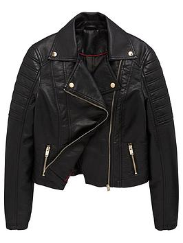 V by Very V By Very Girls Faux Leather Biker Jacket - Black Picture