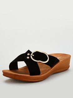 wallis-wallis-cross-strap-buckle-flexi-sole-wedge