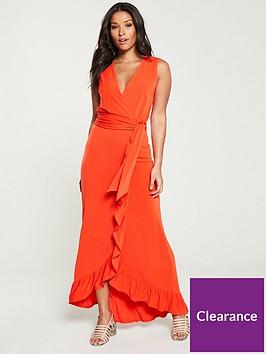 v-by-very-sleeveless-wrap-maxi-dress-orange