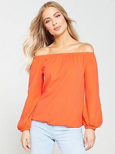 v-by-very-jersey-crepe-bardot-top-orange