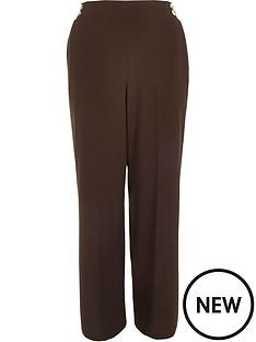 ri-plus-ri-plus-gold-button-detail-wide-leg-trouser-chocolate