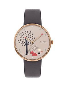 radley-radley-tree-print-crystal-set-cream-dial-grey-leather-strap-ladies-watch