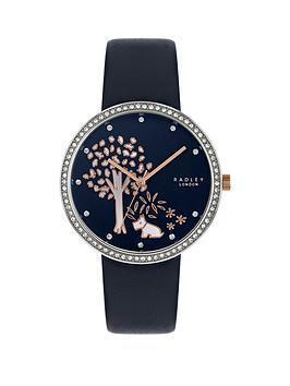 radley-radley-gold-tree-crystal-set-bavy-dial-navy-leather-strap-ladies-watch