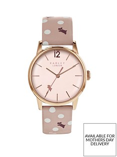 radley-radley-blush-and-rose-gold-detail-dial-pink-spotty-print-leather-strap-ladies-watch