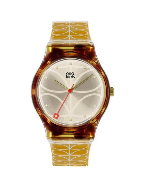 orla-kiely-bobby-champagne-and-tortoise-shell-dial-gold-stem-print-silicone-strap-ladies-watch