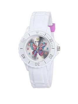 Tikkers Tikkers Tikkers Silver Sunray Butterfly Print Dial White Silicone  ... Picture