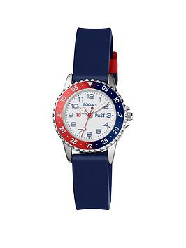 Tikkers Tikkers Tikkers Red, White And Blue Dial Blue Silicone Strap Kids  ... Picture