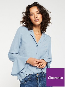 v-by-very-fluted-sleeve-blouse-blue