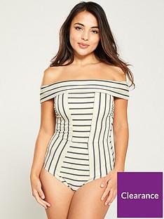 v-by-very-bardot-shapewear-multi-stripe-swimsuit-monochrome