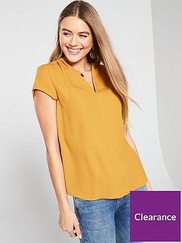 v-by-very-notch-neck-short-sleeve-top-mustard