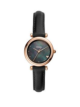 fossil-fossil-mini-carlie-black-satin-mother-of-pearl-and-rose-gold-heart-dial-black-leather-strap-ladies-watch