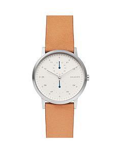 skagen-skagen-silver-and-blue-detail-brown-leather-strap-mens-watch