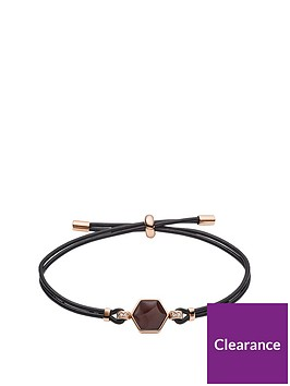 fossil-fossil-semi-precious-hexagon-and-rose-gold-crystal-set-brown-leather-slider-ladies-bracelet