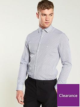 calvin-klein-printed-easy-iron-slim-shirt-cobalt