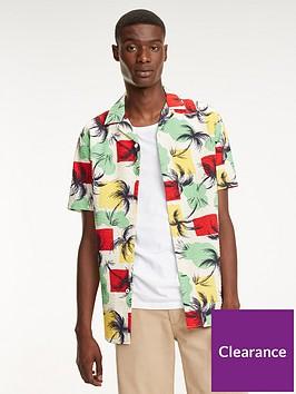 tommy-hilfiger-palm-tree-print-short-sleeved-shirt-multi-coloured