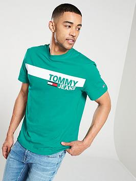 26a9523c Tommy Jeans Essential Box Logo T-Shirt - Turquoise | littlewoods.com