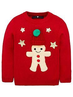 v-by-very-girls-gingerbread-man-pom-pom-christmas-jumper-red