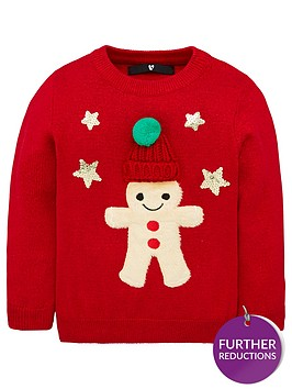 v-by-very-girls-gingerbread-man-pom-pom-christmas-jumper-red