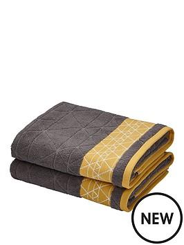 catherine-lansfield-linear-diamond-towel-range-charcoalyellow