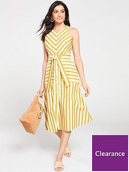 warehouse-stripe-button-front-mix-dress-yellow