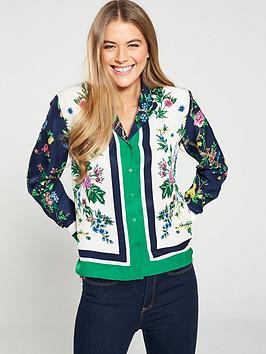 warehouse-scarf-print-pyjama-shirt-green
