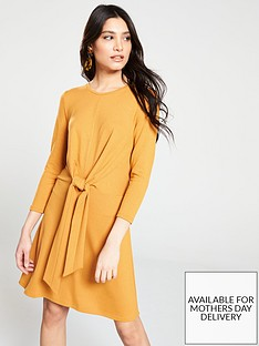v-by-very-knotted-jersey-dress-mustard