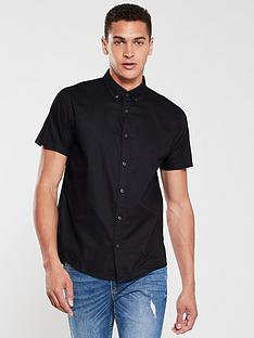 v-by-very-short-sleeved-button-down-oxford-shirt-black