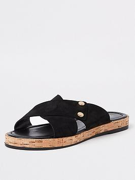 river-island-river-island-leather-cross-strap-slip-on-sandal-black