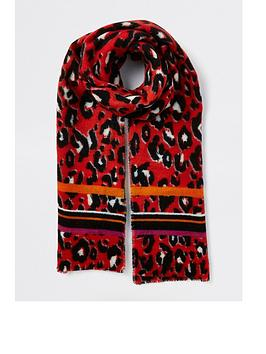 river-island-leopard-print-scarf-red