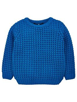 V by Very V By Very Boys Waffle Knit Jumper - Blue Picture
